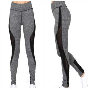 Color block lace inset workout leggings Black Gray